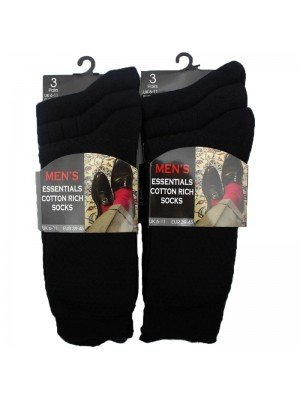 Wholesale Men's Essentials Cotton Rich Socks (6-11) - Black
