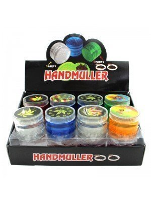 4 Parts Handmuller Plastic Grinders Leaves and Rasta Design - Assorted