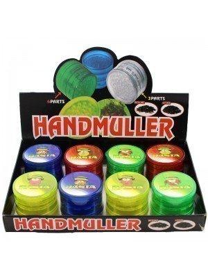 4 Parts Handmuller Plastic Grinders Rasta Bird Design - Assorted