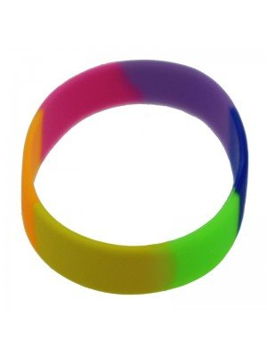 Wholesale Gummy Wristbands Rainbow Coloured Design