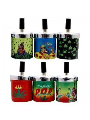 Wholesale Metal Rotary Ashtray - Rasta and Leaves Designs - Assortment