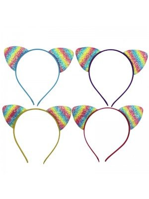 Wholesale Sparkly Rainbow Cat Ears - Assorted Colours