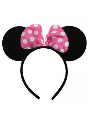 Sparkly Mouse Ears with Pink Bow on Alice Band - Black