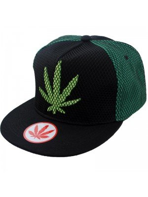 Wholesale Snapback Cap Rasta Leaf Design - Green & Black