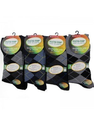 Wholesale Mens Argyle Design Flexi-Top Non Elastic Diabetic Socks (6-11) - Assorted Colours
