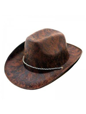 Wholesale Hat Cowboy Leather Look Dark Brown Adult