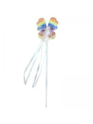 Wholesale Rainbow Coloured Net Butterfly Wand with White Feather and Ribbon