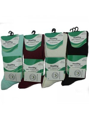 Wholesale Ladies Non-Elasticated Top Cotton Socks - Assorted Colours