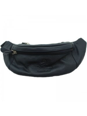 Wholesale Genuine Leather Bum Bag with 3 Zipped Compartments - Navy