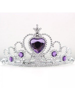Wholesale Plastic Silver Tiara with Centre Heart Stone - Assorted Colours