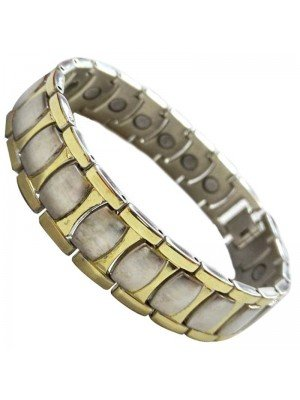 Wholesale Magnetic Bracelet With 20 Magnets - Two Tone Links