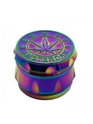 4 part Metal Aluminium Grinder Rainbow Amsterdam Leaf Design