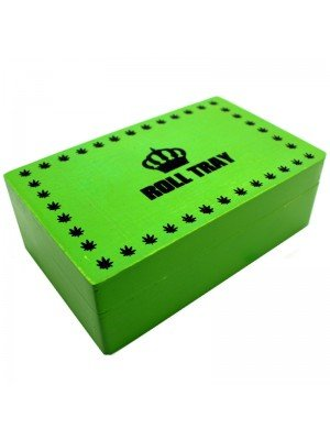 Roll Tray Wooden Tobacco Stash Box - Green