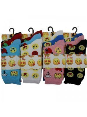 Wholesale Ladies Emoji Printed Style Socks - Assorted Design & Colour