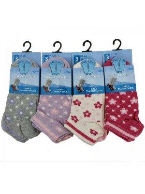 Wholesale Girl's Fresh Feel Trainer Socks - Assorted Colours (12-3)