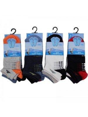 Wholesale Boy's Fresh Feel Trainer Socks - Assorted Colours (12-3)