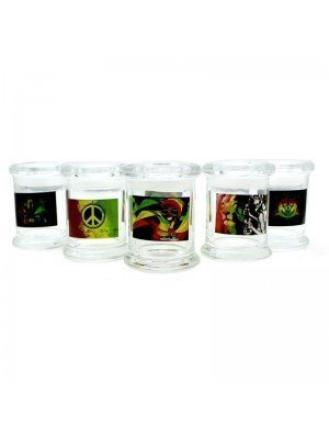 Wholesale Glass Stash Jar with Air Tight Lid - Rasta Designs
