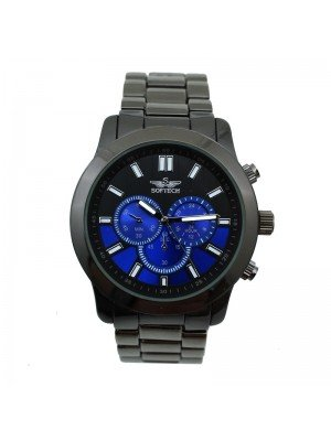 Wholesale Softech Mens 3 Time Display Watch - 2 Tones  - Gun Blue