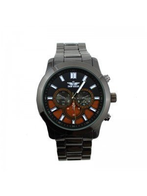 Wholesale Softech Mens 3 Time Display Watch - 2 Tones - Gun Brown