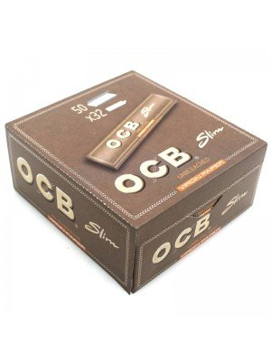 OCB Unbleached Slim Virgin Paper Long (50 booklets x 32 papers)