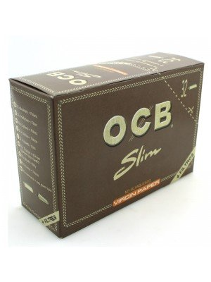 OCB Unbleached Slim Virgin Papers with Filters (32 Booklets of 32 Papers)