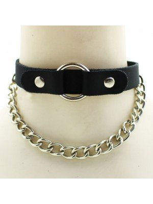 Leather Choker With Strapped On Ring and Chain