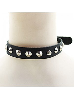 1 Row Conical Studded Leather Choker