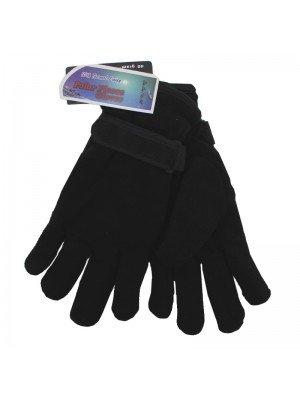Mens Plain Black Fleece Gloves - Assorted Sizes