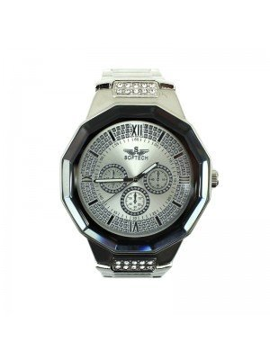 Softech Mens 3 Time Display Watch - Silver with Glass Bezel