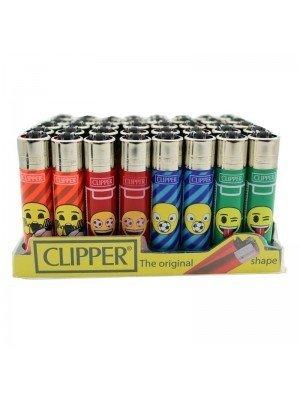 Wholesale Clipper Flint Lighters - Emoji Mix