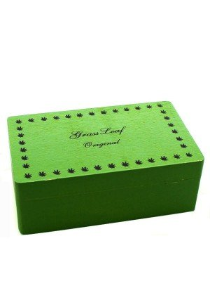 Wholesale Green Wooden Rolling Box - Grass Leaf Original (Medium)