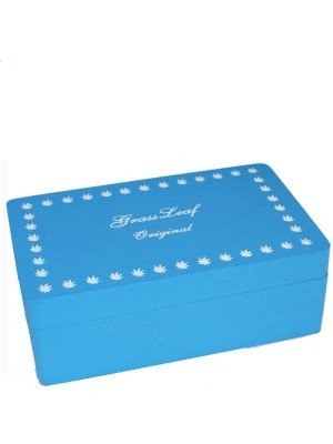 Wholesale Blue Wooden  Rolling Box - Grass Leaf Original (Medium)