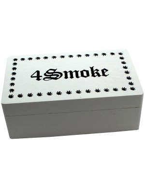 Wholesale White Wooden Rolling Box - 4Smoke (Medium)