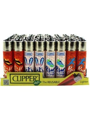 Wholesale Clipper Reusable Lighter - Running (Assorted Designs)