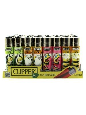 Wholesale Clipper Reusable Lighter - Bees 2 (Assorted Designs)
