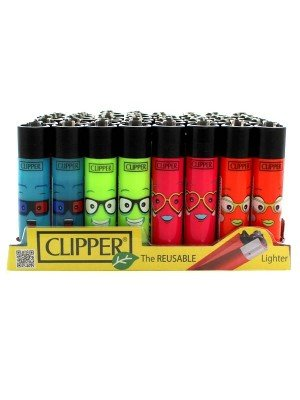 Wholesale Clipper Reusable Lighter - Faces 6 (Assorted Designs)