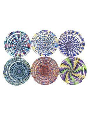 Wholesale Glass Ashtray- illusion (Assorted Designs)-9cm