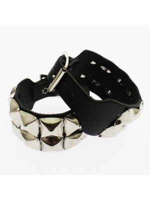 2 Row Pyramid Studded Leather Wristband