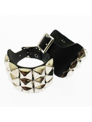 3 Row Pyramid Studded Leather Wristband
