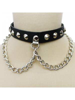 1 Row Conical And Chain Leather Choker