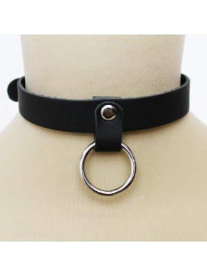 Leather Choker Medium Ring