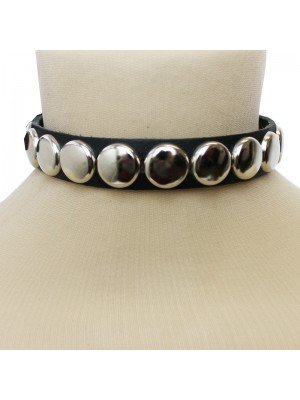 1 Row Conical Leather Choker Silver Buttons