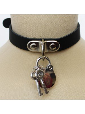 Leather Choker Plain With Padlock