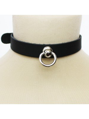 Leather Choker Small Ring