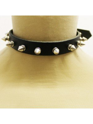 1 Row Spiked Leather Choker