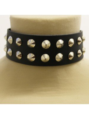 2 Row Conical Studded Leather Choker