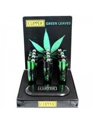 Wholesale Clipper Flint Reusable Lighter With Gift Case- Green Leaves(Assorted Colours)