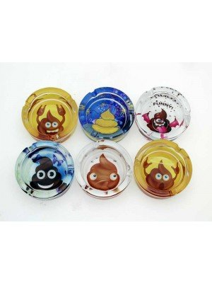 Wholesale Sparkys Glass Ashtray- Poo emoji (Assorted Designs)-9cm