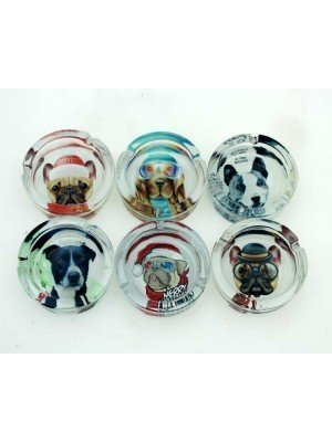 Wholesale Sparkys Glass Ashtray- Dogs (Assorted Designs)-9cm