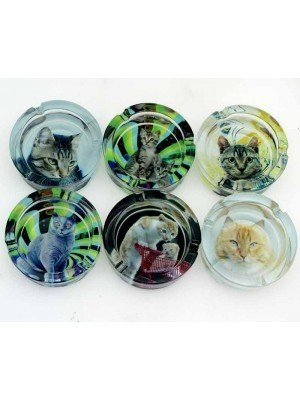 Wholesale Sparkys Glass Ashtray- Cats (Assorted Designs)-9cm